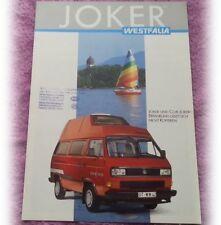 VW VOLKSWAGEN Westfalia Joker VW Bus 1987 Deutsch Broschüre Prospekt brochure