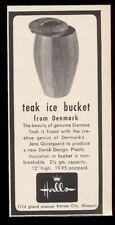 1956 Jens H Quistgaard Dansk Design teak ice bucket photo Halls print ad