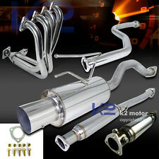 For Honda 99-00 Civic Si Exhaust Header+Cat Back Muffler+Test Pipe