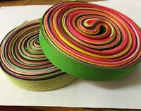 20 yards 7/8 inch ribbon one yard of ten colors one yard of ten swiss dots Lot B
