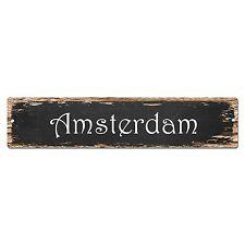 SP0140 Amsterdam Street Sign Bar Store Shop Pub Cafe Home Room Chic Decor