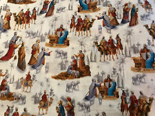 Christmas Peace Nativity Scene Baby Jesus Religious Fabric 1 Yard