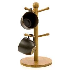 Bamboo Mug Tree Mug Hook Mug Storage 6 Coffee Cup Mug Tabletop Holder