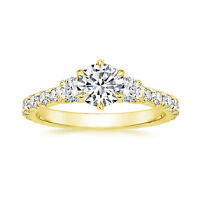1.09 Ct Round Diamond Engagement Ring Solid 14K Yellow Gold Rings Size K L O P M