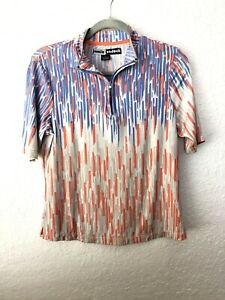 Jamie Sadock Womens Golf Shirt 1/4 Zip Abstract Purple Coral Size S