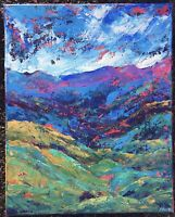 CASCADING MOUNTAINS Original Abstract Landscape Knife Painting 16x20 TEXTURE NR