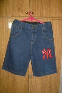 New York Yankees Majestic MLB Jeans Shorts NY Baseball Blue Men Size L Large