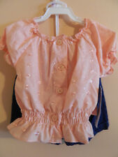 NWT Park Bench Kids girl 2pc set; pink peasant top w/blue jeans; size 3T
