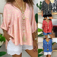 Plus Size Womens Long Sleeve Floral V Neck T-shirt Blouse Tops Casual Shirts Tee