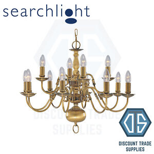 1019-8AB SEARCHLIGHT FLEMISH SOLID ANTIQUE BRASS 8 LIGHT CHANDELIER WITH METAL