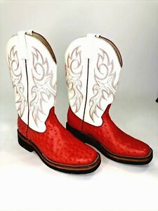 Durango RD3305 Womens Red/White Western Boots Size 7M