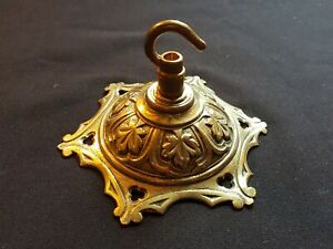 One Reclaimed Antique Cast Brass Victorian Ceiling Rose Furniture Décor (EER219)
