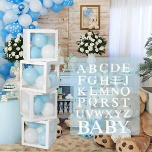 Baby Shower Decoration Balloon Boxes 4Pcs DIY Transparent Boxes with 30 Letters