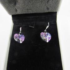Swarovski Earrings Heart Shape Purple Crystal Authentic