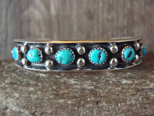 Navajo Indian Sterling Silver Turquoise 5 Stone Bracelet - P. Largo
