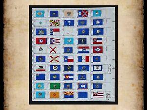 US Scott 1633-1682 Bicentennial State Flags 1976 MNH Sheet of 50 13 Cent Stamps