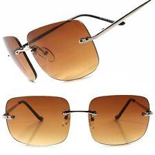 Gradient Brown Lens Vintage Retro Fashion Mens Womens Rimless Square Sunglasses