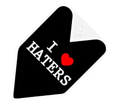 ## JDM WAKABA BADGE I LOVE HATERS Car Decal Flag not vinyl sticker ##