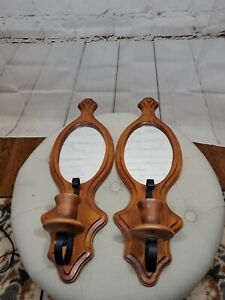 Lot of 2 Wood/Metal Wooden Oval Mirrors Candle Holders Wall Sconces Mid Century