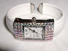 GLITTERING AUSTRIAN CYSTAL BRACELET CUFF WATCH SMALL DEFECT LARGE PRICE REDUCED!