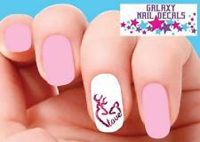 Waterslide Nail Decals - Set of 20 Deer Love Camo Camouflage Pink