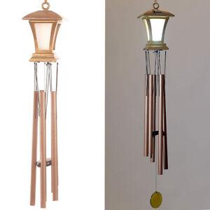 "Large 36"" Bronze Wind Chimes w/ Solar LED Lantern Glows At Night Windchimes"