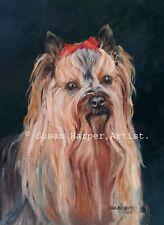 More details for sale yorkshire terrier signed dog print by susan harper unmounted