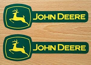 """TWO JOHN DEERE FADE RESISTANT 7.75"""" x 2.5"""" VINYL DECAL STICKERS & FREE USA FLAG"""
