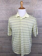 Mens Pga Tour Polo Shirt Golf Yellow Stripped Breathable Size L