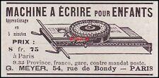 Publicité Materiel de Bureau Machine à écrire pour enfant  Typewriter  ad  1899