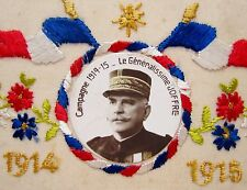 Superb WWI Embroidered 1914-1918 Military Postcard Portrait of JOFFRE