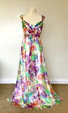 Monsoon Maxi Dress 12 Paradise Floral Silk Chiffon  Occasion  Cruise Party