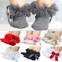Baby Girls Toddler Kids Lace Bowknot Ruffle Frilly Princess Ankle Sock 7 Colors