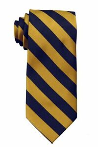 Men's Gold and Navy Collegiate Striped Classic Necktie Schools Business Clubs