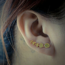 Cute Star and Moon Ear Stud Earrings Women's Tiny Silver Plated Jewelry PB Gold