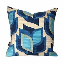 "Groovy 70s Blue Vintage Fabric 16"" Cushion Cover VW"