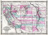 MAP ANTIQUE 1866 JOHNSON WESTERN UNITED STATES AMERICA REPLICA PRINT PAM1862