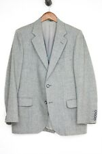 VTG Wool Tweed 3 Piece Suit 40R 34x30 Gray Herringbone Stripe Jacket Pants Vest