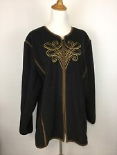 NWT BOB MACKIE QVC WOMENS 3X BLACK GOLD BROWN EMBROIDERY LONG SLEEVE JACKET A52