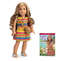 """American Girl Lea Clark Doll 18"""" with Book Messenger Bag Compass Necklace NIB"""