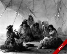 NATIVE AMERICAN INDIAN HOSPITALITY TO A TRAPPER PAINTING ART REAL CANVAS PRINT