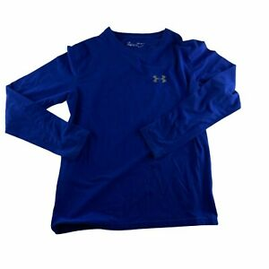 Under Armour Heat Gear Youth Size Large Long Sleeve Blue Loose Fit