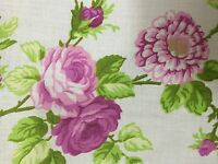 White Pink Rose Flower Print Poly Cotton Fabric - Sold By The Yard - 59""