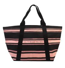 NWT VICTORIA'S SECRET Sparkle Large Beach City Tote Shoulder Stripe Black Pink