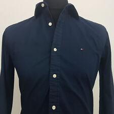 Tommy Hilfiger Mens Shirt SMALL Long Sleeve Blue Custom Fit No Pattern Cotton