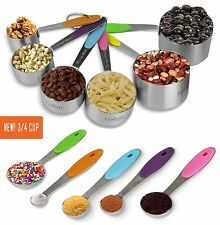 11 Piece Measuring Set Stainless Steel Stackable 6 Measuring Cups & 5 spoons