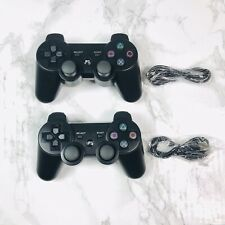 2x Black Wireless Sony Playstation 3 PS3 DualShock Controllers