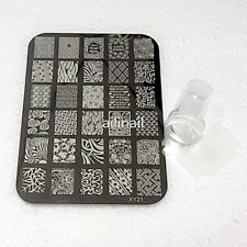 Nail Plate +Clear Jelly Silicone Nail Art Stamper Scraper with Cap Stamping #21