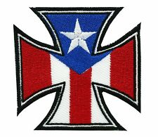 PUERTO RICO FLAG MOTORCYCLE CHOPPERS IRON CROSS MC EMBROIDERED PATCH