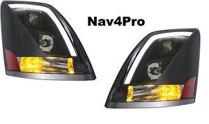 *NEW* 2004-2015 Volvo VN VNL Black LED Bar DRL Headlight Pair